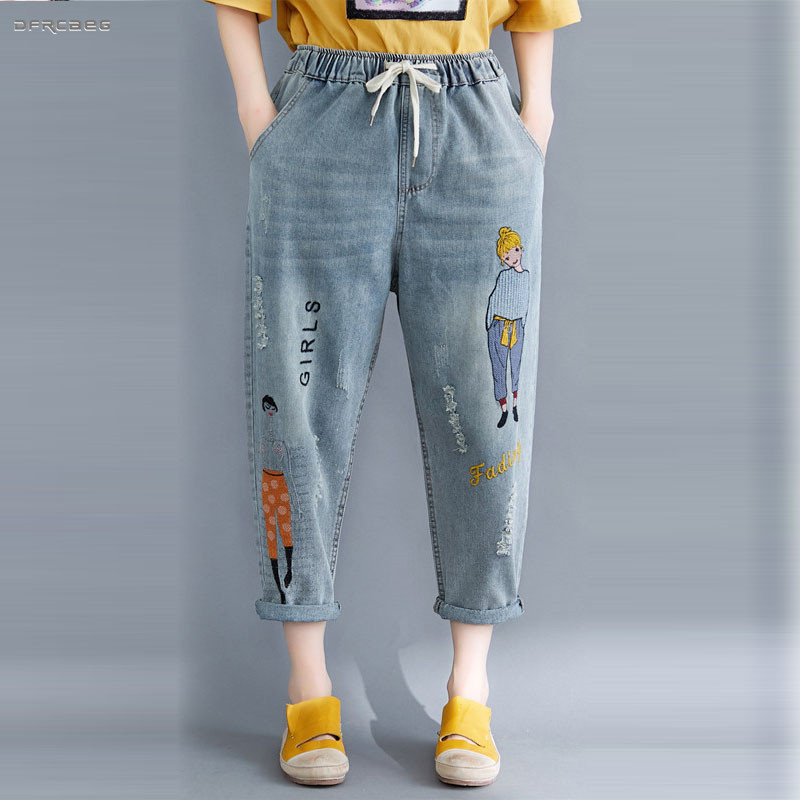 3XL 4XL Plus Size Cartoon Embroidery Boyfriend   Jeans   Womens Summer 2019 Fashion Streetwear Loose Denim   Jean   Harem Pants Femme