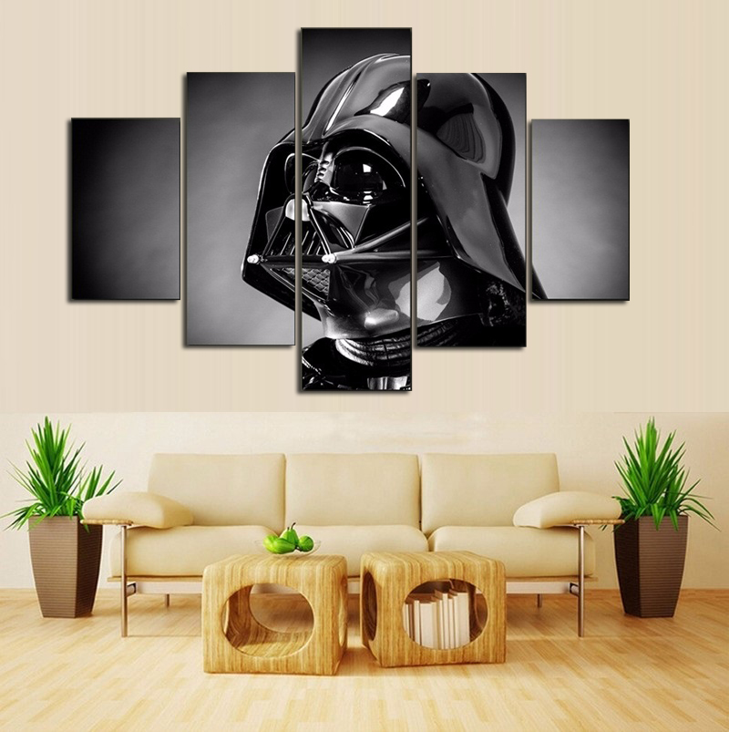 5 panel movie poster star wars home decor for living room - Modern wall decor for living room ...