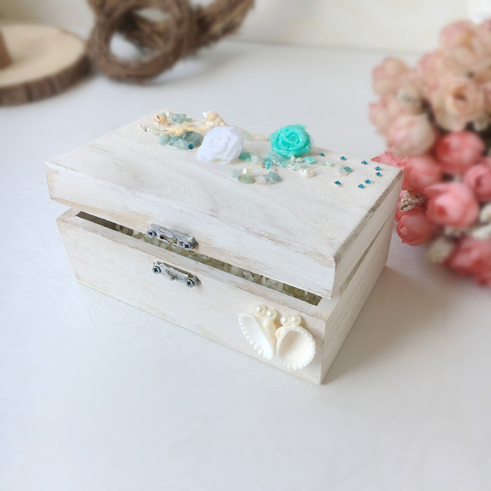Beach Wedding Wooden Ring Box Personalized Chic Beach Wedding Decor ...