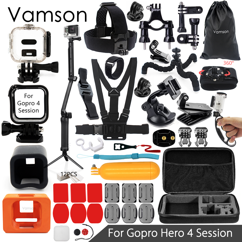 Vamson for Gopro Hero 4 Session Accessories Set 3 Way Monopod Mini Tripod for Go pro hero 4 Session Action Camera VS15 набор аксессуаров для gopro hero от vamson vs19 с поплавком ремнями и штативами