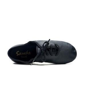 Image 3 - Sansha Unisex Lace up Jazz Shoes Leather With Neoprene Suede Split sole Cushioned Heel Women Men Jazz Salsa Dance Shoes JS2LPI