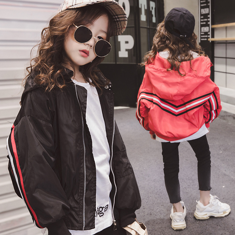 Black Girl Fashion 2019: Girls Hoodie Jackets Spring 2019 Red Black Baseball