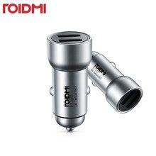 Roidmi chargeur de voiture aspect métal double USB 5V 3.6A sortie rapide chargeur adaptateur pour iPhone et Android Samsung