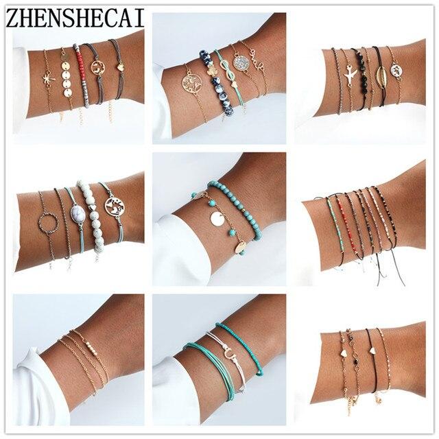 Gold Color 2019 Fashion Bracelets for Women Delicate Rope Chain Bracelet Beads Charm Bracelet Bohemian Beach Jewelry Wholesale