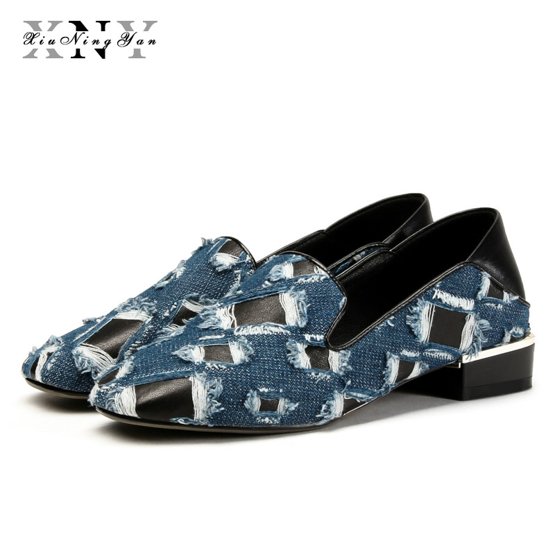 XiuNingYan Women Flats Fashion Sheepskin&Denim Oxford Woman Casual Shoes Slip on Loafers Shoes Woman Genuine Leather Basic Flats lovexss casual oxford shoes fashion metal decoration shallow shoes black purple genuine leather flats woman casual oxford shoes