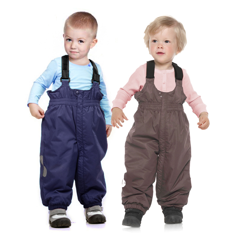 Russia Winter Autumn Babys Thick Trousers Cocoa Girls Warm Bib Pants Kids Long Zipper Ski Pants Boys Blue Bib Overalls 1508 winter zipper pants 2017 new polyester solid boys straight zipper fly woven straight pants 90 140 overalls for boys
