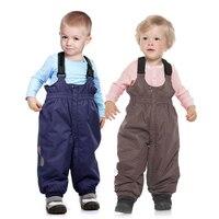 Russia Winter Autumn Babys Thick Trousers Cocoa Girls Warm Bib Pants Kids Long Zipper Ski Pants Boys Blue Bib Overalls 1508