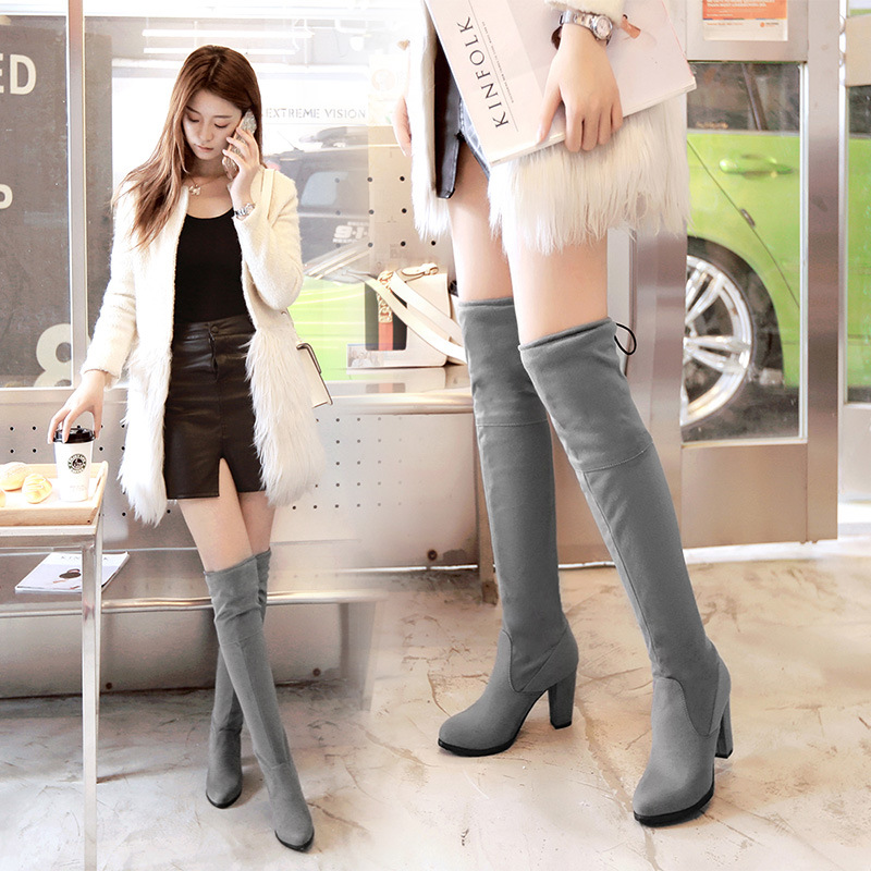 Women Flock Slim Thigh High Boots Sexy Fashion Over the Knee Boots High Heels Woman Shoes Black Gray Snow Boots Plus Size 33-43 armoire new sexy genuine leather black over the knee thigh high boots ladies nude shoes low heels leica aga20 big size 33 43 10