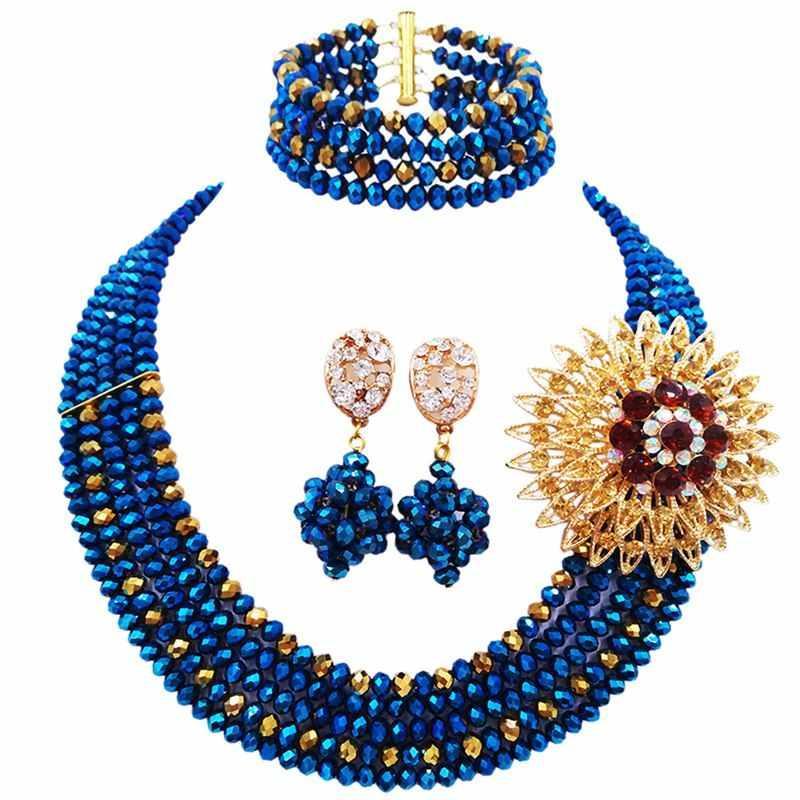 פרט עממי מסורתי כחול מצופה זהב חום חתונה חרוזים קריסטל שרשרת תכשיטי סט לנשים 5C-ST-05