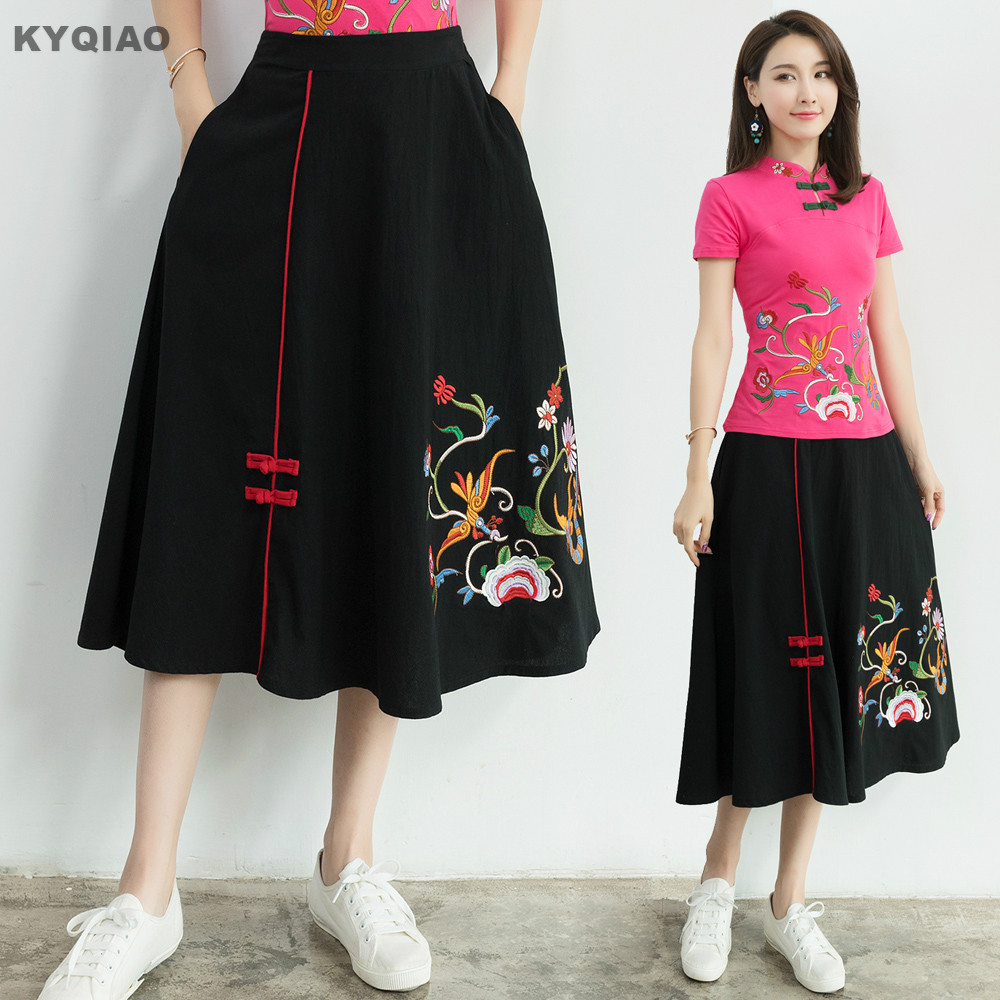KYQIAO Women midi skirt 2018 female autumn spring original ethnic designer black embroid ...