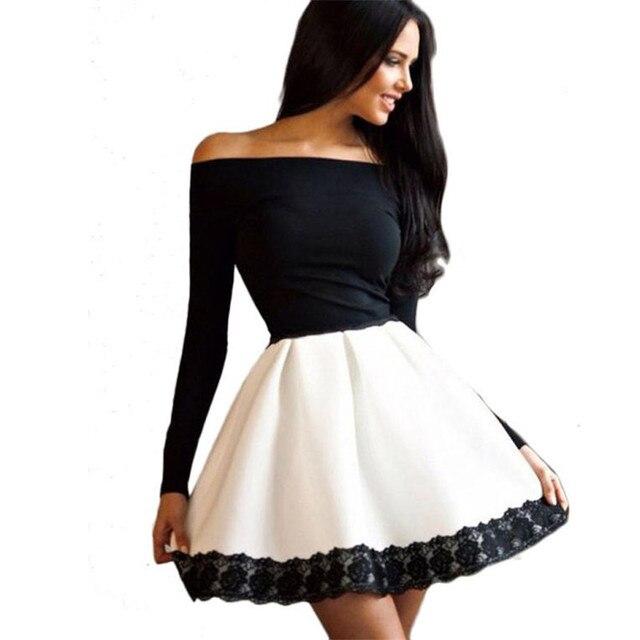 3a4e6faae9 2019 nuevo uno-hombro costura encaje Delgado sexy Vestido corto Vestido  Mujer manga larga Casual