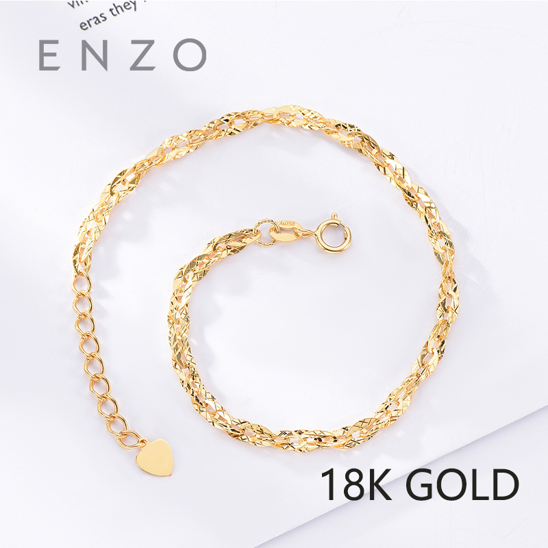 ENZO Pure 18K Gold Bracelet For Women Miss Girls Gift Female Fine Jewelry Au750 Genuine Real Solid Chain Upscale Party Trendy real 18k gold jewelry bowknot earring women miss girls gift party female stud earrings solid hot sale good trendy