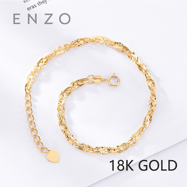 ENZO Pure 18K Gold Bracelet For Women Miss Girls Gift Female Fine Jewelry  Au750 Genuine Real Solid Chain Upscale Party Trendy 20cb468f1af7