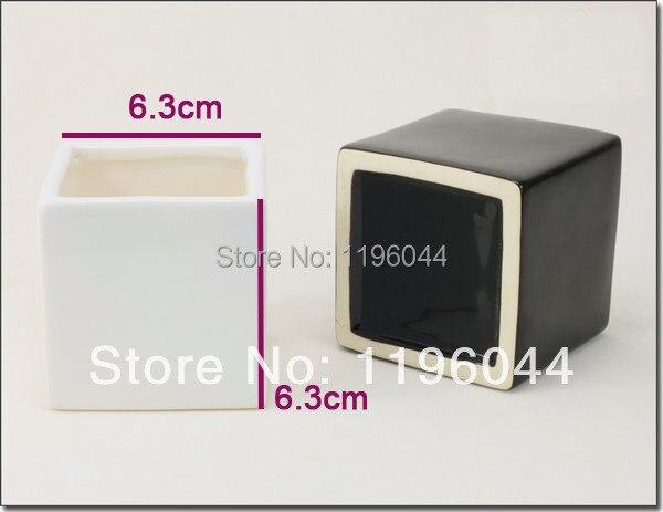 Small Flower Pot Black And White Ceramic Square Cylinder Flower Mini
