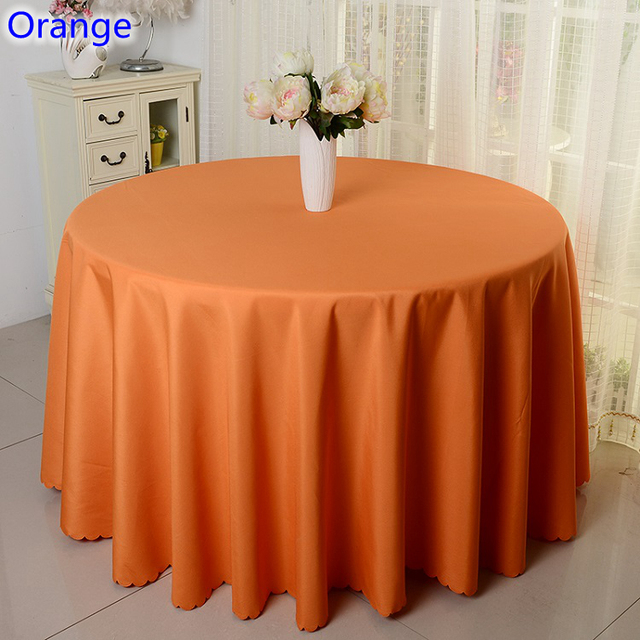 Orange Colour Wedding Table Cover Table Cloth Polyester Table Linen Hotel  Banquet Party Round Tables Decoration