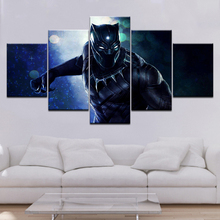 Black Panther Movie Poster 5 Piece Canvas Wallpapers modern Modular Poster art Canvas painting for Living Room Home Decor forest waterfall landscape 5 piece canvas wallpapers modern modular poster art canvas painting for living room home decor