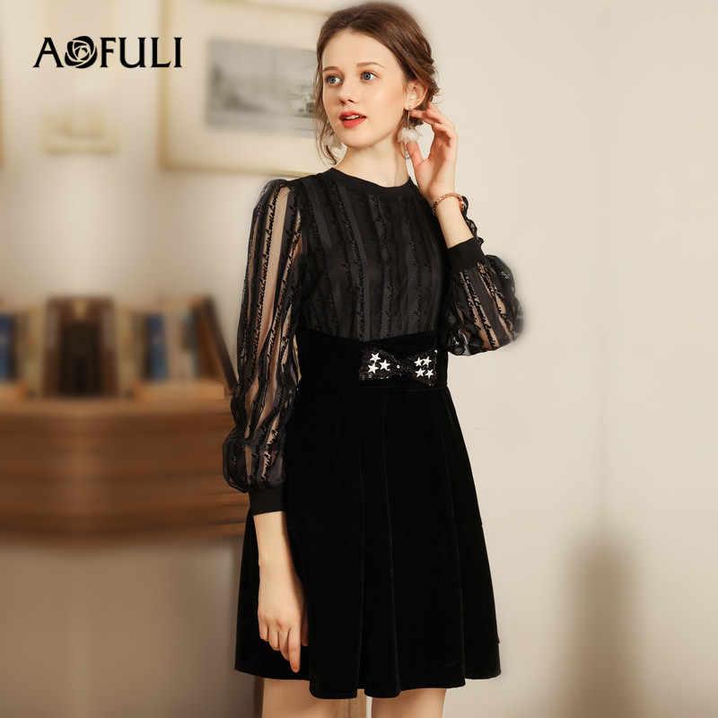 AOFULI Women Autumn Winter Dress Plus size L- 5XL 2018 Lady Long sleeve Lace  Patchwork 7da79d117e32