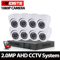 HKISDISTE 8CH CCTV System 1080P HDMI AHD 8CH DVR 8PCS 2 0MP IR Indoor Outdoor Security