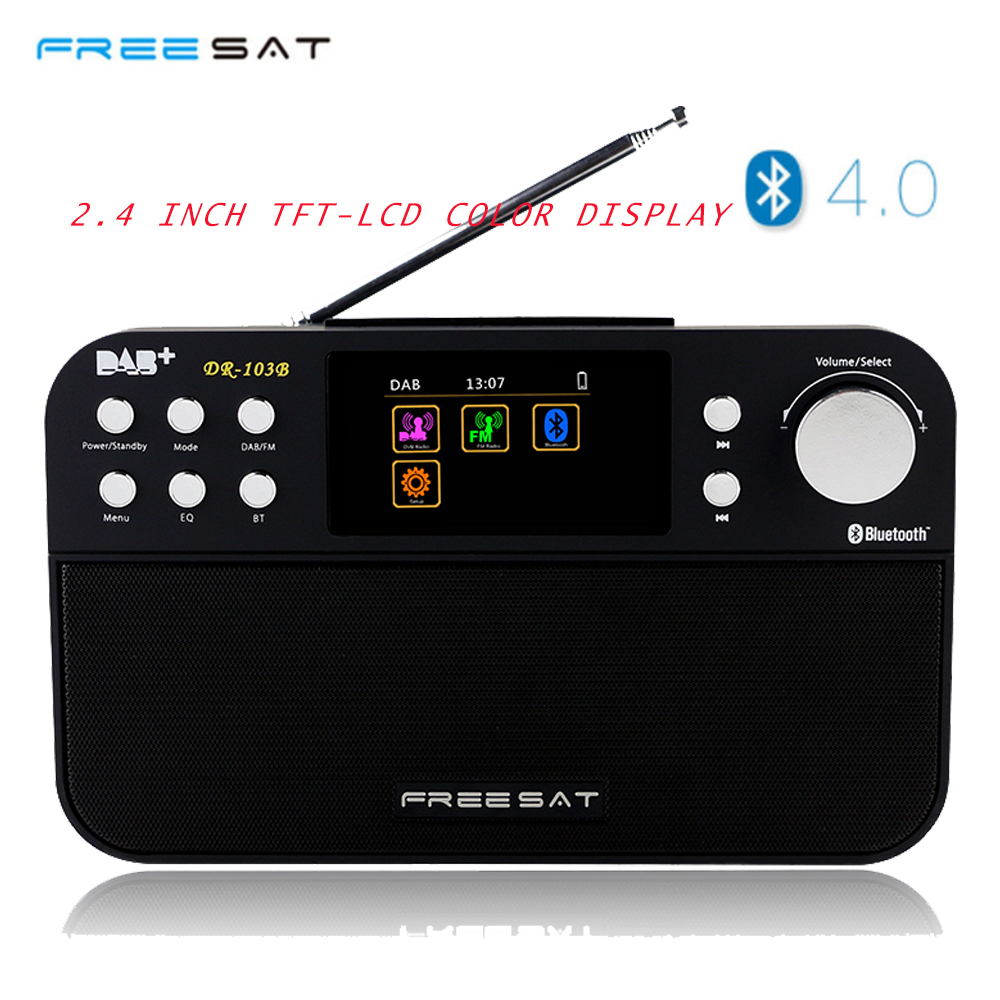 Newest Freesat DR-103B DAB Receiver Portable Digital DAB FM Stereo Radio Receptor With 2.4 Inch TFT Color Display multi-function 76 108mhz digital lcd fm radio stereo receiver module 5w amplifier remote control with memory function