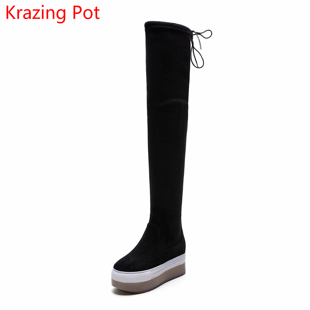 2018 New Arrival Flannel Stretch Boots Keep Warm Wedges Lace Up Increased High Heels Leisure Fashion Over-the-knee Boots L31 krazing pot flannel stretch boots winter keep warm wedges high heels leisure long legs beauty fashion over the knee boots l31