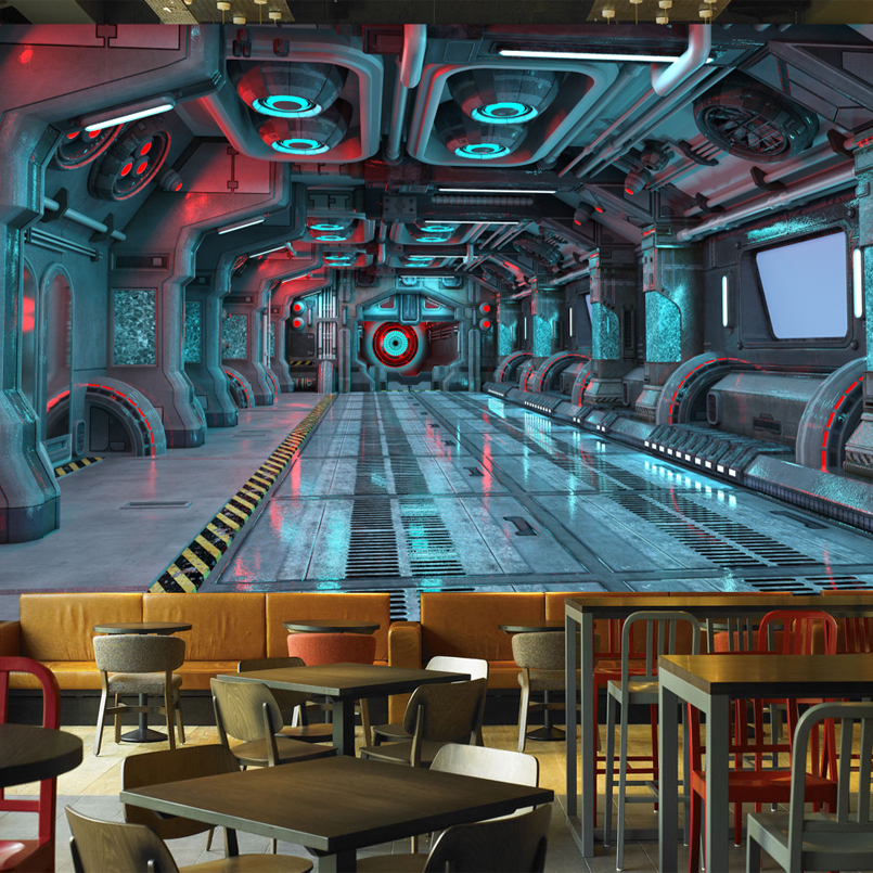Wholesale Wallpaper Outer Space Capsule Mural Wallpaper Decoration For Restaurant Wine Club Pub Free Shipping Discount