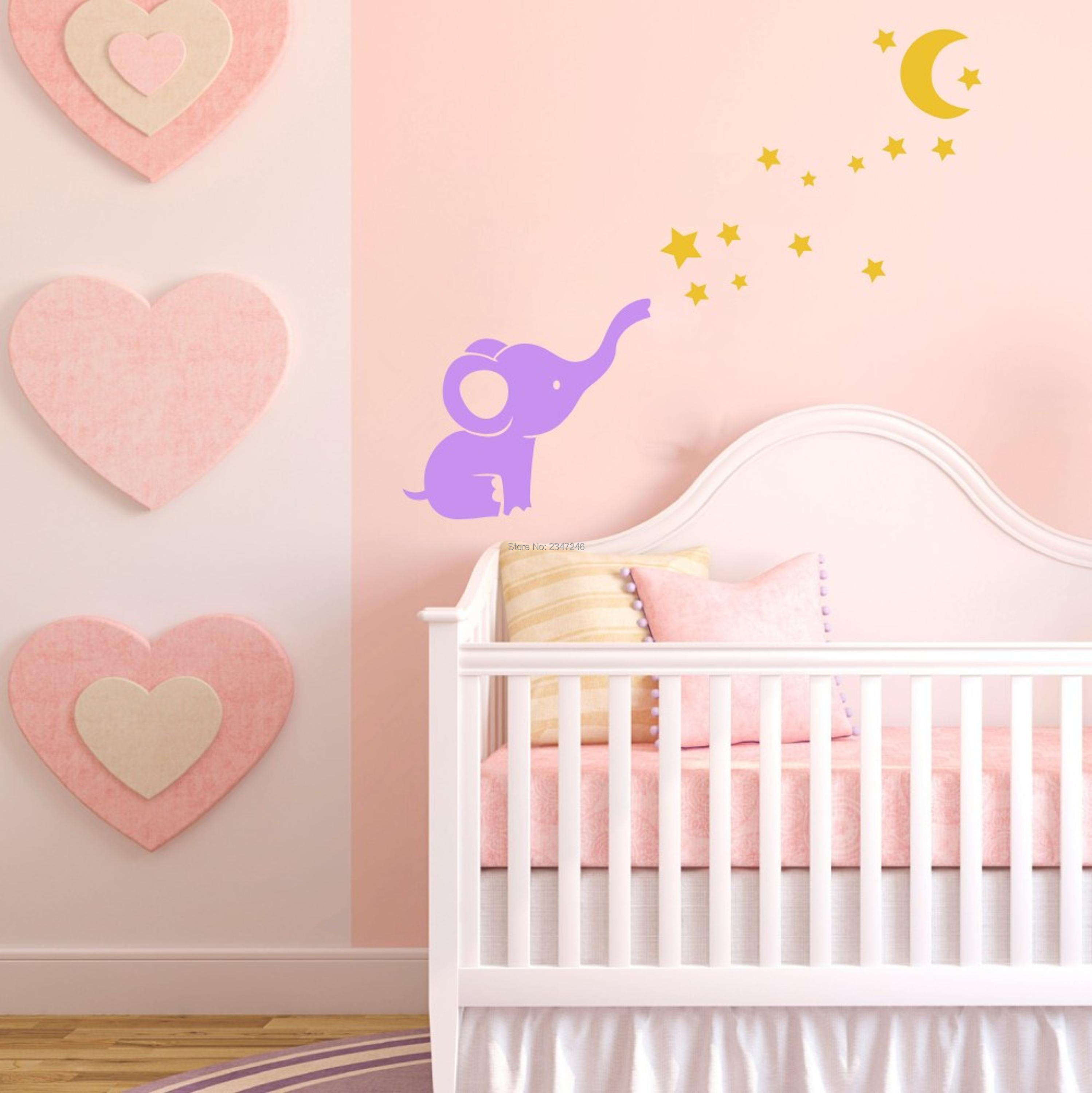 Cute little elephant cartoon art mural decals moon stars vinyl cute little elephant cartoon art mural decals moon stars vinyl wall stickers for baby room decor in wall stickers from home garden on aliexpress amipublicfo Image collections