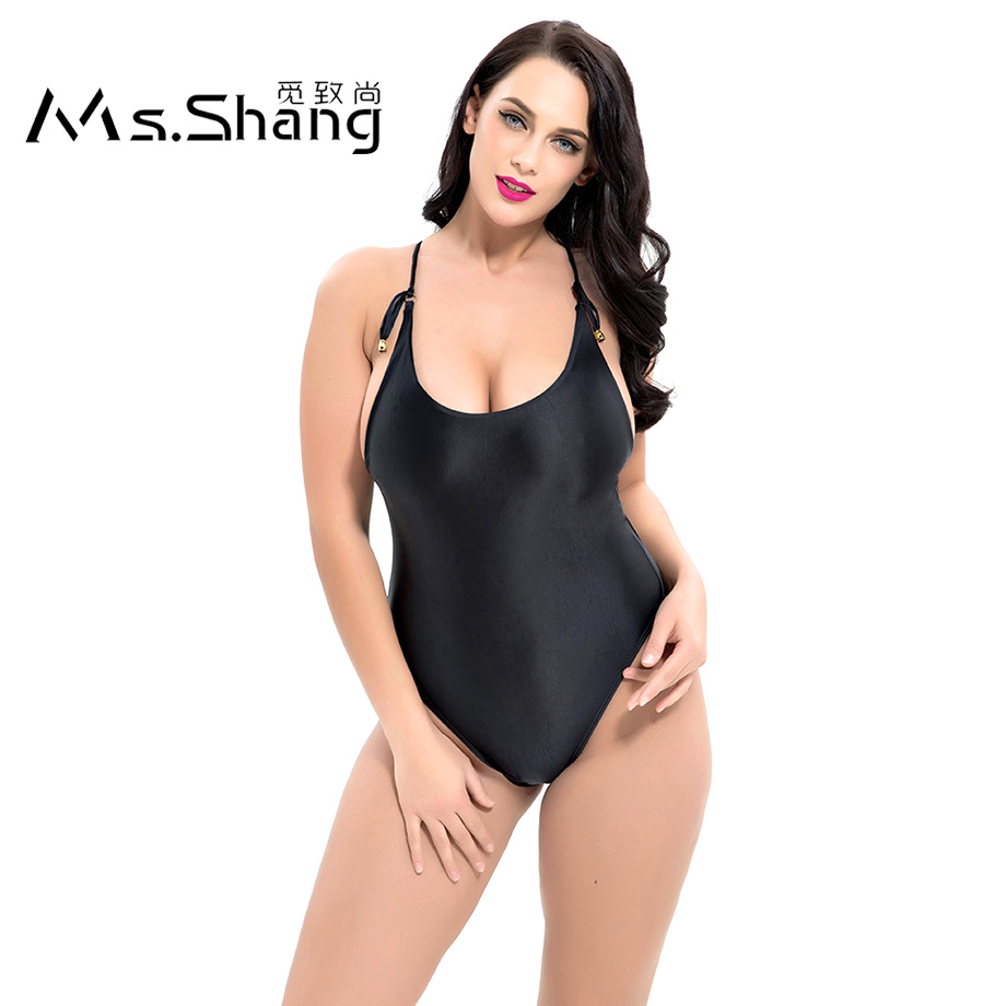 Ms.Shang Solid Sexy One Piece Swimsuit Women Plus Size Swimwear Female Padded Swimming Suit 2018 Black Swim Suits Large Size 6XL 2017 new sexy one piece swimsuit strappy biquini high waist one piece swimwear women bodysuit plus size bathing suits monokinis