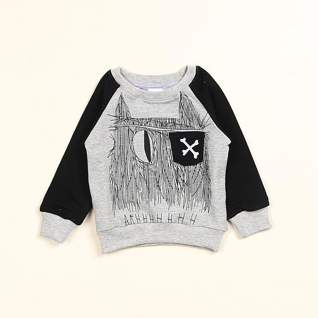 NOVAS INS primavera TOPOS das crianças NUNUNU osso impressão Camisola Do Bebê Do Algodão T-shirt da menina do menino tops completo manga preto livre grátis