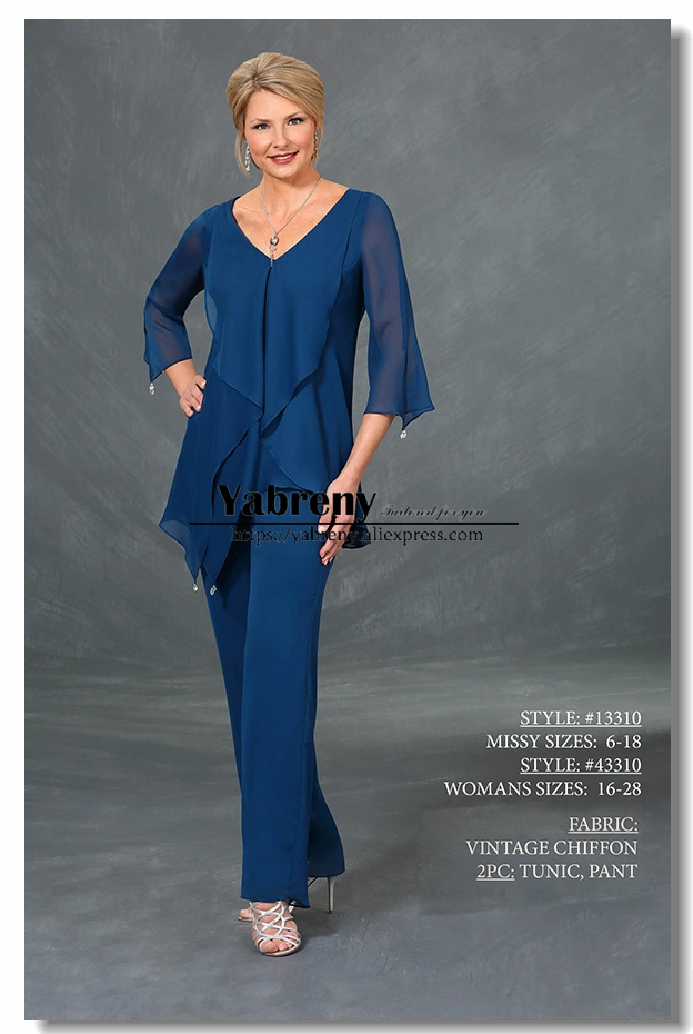 Royal Blue Chiffon V-neck Mother Of The Bride Pant Suit Asymmetrical Three Quarter Sleeve