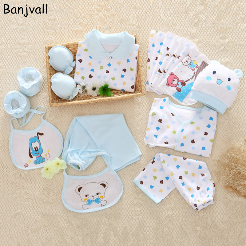 18 Pieces/set 2017 Spring New Baby Clothes Newborn Baby Clothing Gift Set Underwear Suits 100% Cotton Infant Sets 2017 newborn clothing fashion cotton infant underwear baby boys girls suits set 17 pieces clothes for 0 3m clothing sets