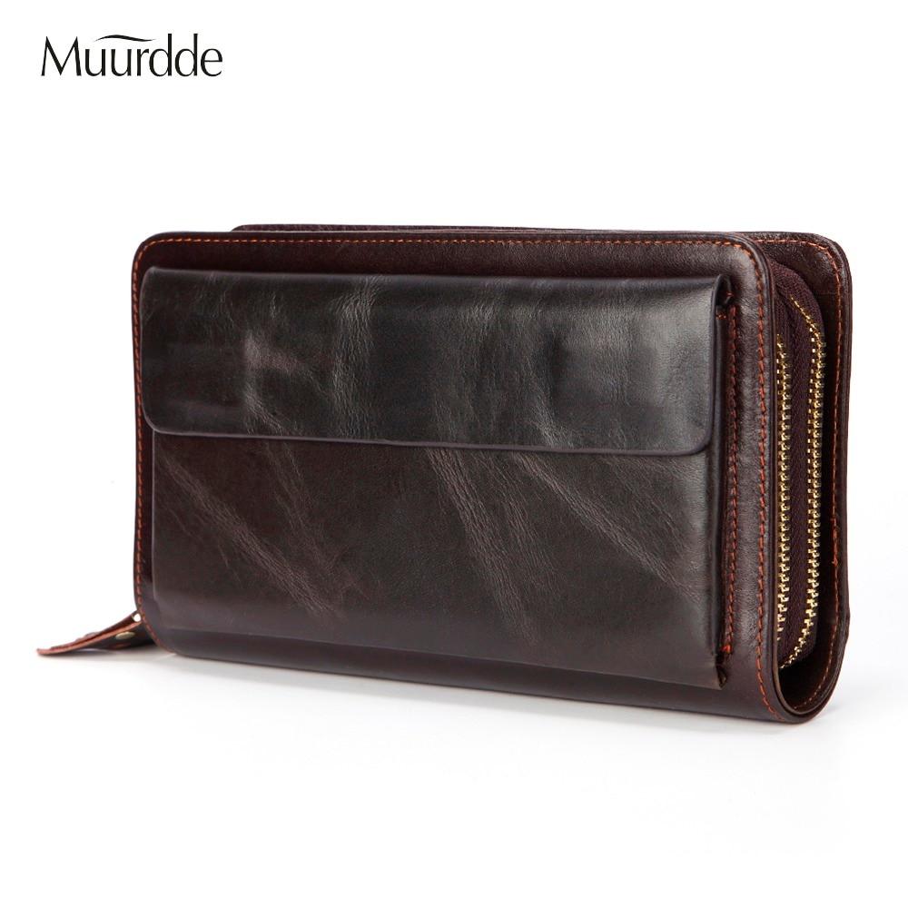 Muurdde Brand Men Clutch Bag Vintage Genuine Leather Long Purse Double Zipper Business Wallet Double Layer
