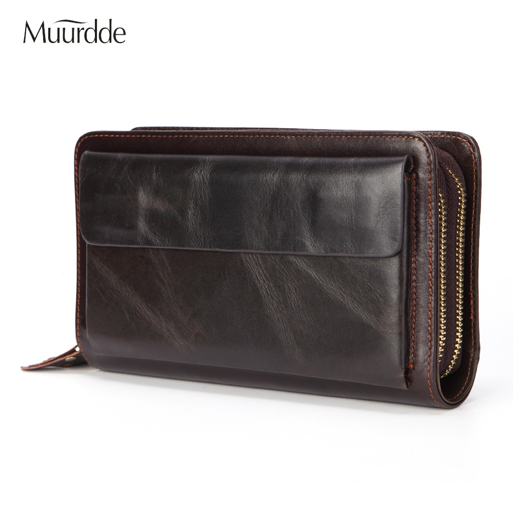 Muurdde Brand Men Clutch Bag Vintage Genuine Leather Long Purse Double Zipper Business Wallet Double Layer Male Casual Handy BagMuurdde Brand Men Clutch Bag Vintage Genuine Leather Long Purse Double Zipper Business Wallet Double Layer Male Casual Handy Bag