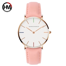 Simple Watch for Lady White Dial Rose Gold Hour Marker Elegant Two Hands Pink Genuine Leather Strap Moda Relojes Mujer