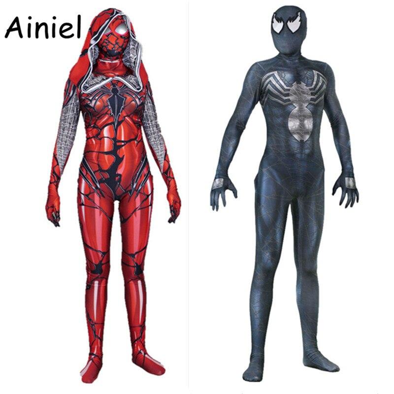 Ainiel Venom Edward Brock Carnage Spider Gwen Stacy Cosplay Costume Spider Man Bodysuit Superhero Spiderman Zentai