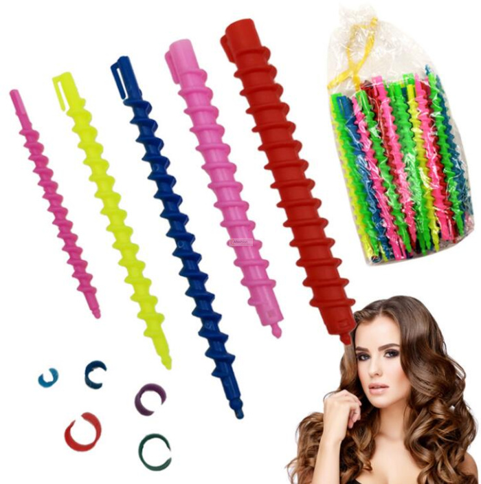 26pcs Plastic Spiral Hair Perm Rod Long Curling Spiral Stick Small Styling Tools Barber Salon Hairdressing Accessory