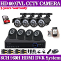 CCTV 960H 8CH HDMI DVR System Outdoor Home Video 600TVL 8 Security Camera System 100ft IR Cut Camera with 1TB Hard disk