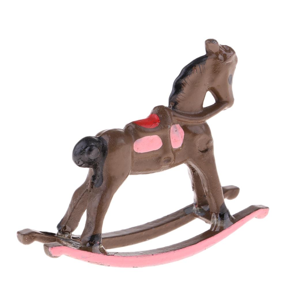 1//12 Dollhouse Miniature Rocking Horse Nursery Toy Rocker Lounge Accessory