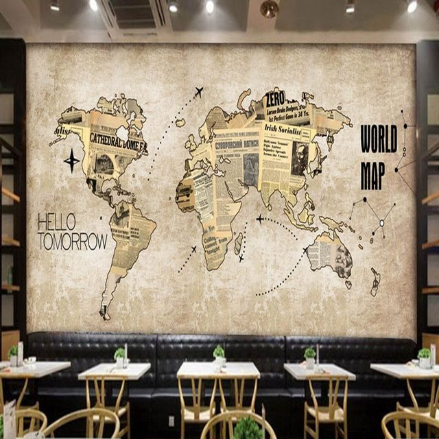 Online shop custom photo wallpaper europe the united states retro custom photo wallpaper europe the united states retro world map newspaper mural bar coffee shop back wall restaurant wallpaper gumiabroncs Gallery