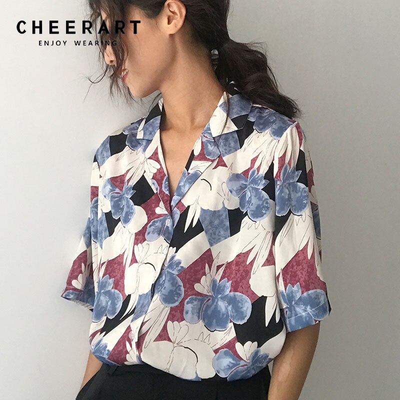 Cheerart Korean Blouse Women Floral Print Lapel Loose Summer Top Button Up Chic Blouse Femme