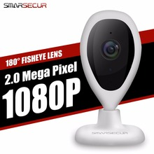 SMARSECUR Home Flisheye Camera 1080P Night Vision Video Monitor IP Network Surveillance Home Security Internation Version 2.0MP