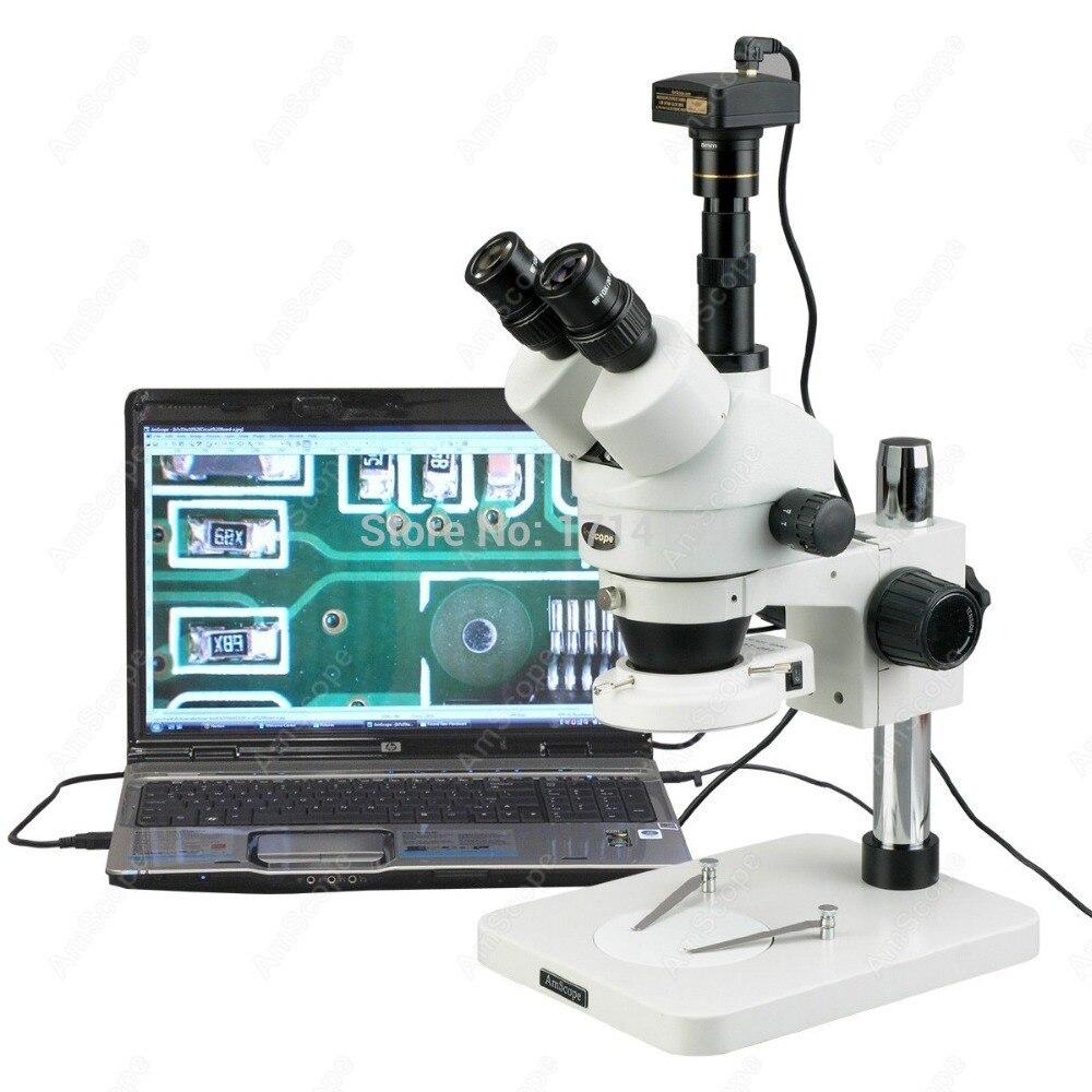 Inspeção Industrial-AmScope Suprimentos 3.5X-Fabricação 144-LED Zoom Microscópio Estéreo com 3MP 180X Câmera Digital