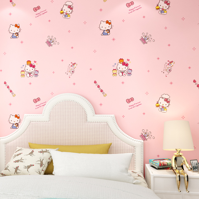 New Cartoon Kt Cat Pattern Wallpaper Cute Children S Room Bedroom Princess Pink Non Woven Wall Paper Roll