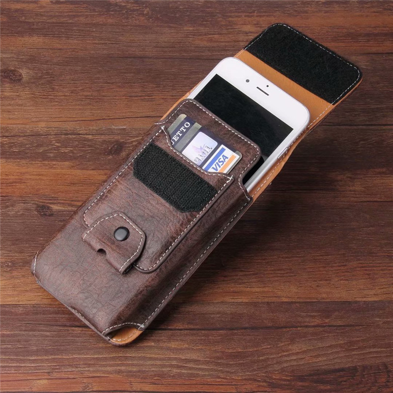 Universal Cell Phone Leather Case Waist Packs Belt Clip Pocket with Card Slots for Vivo Z10/V9/Z1i/Y81/Z1/Y83/X21i/Y75s/Y53i/Y71