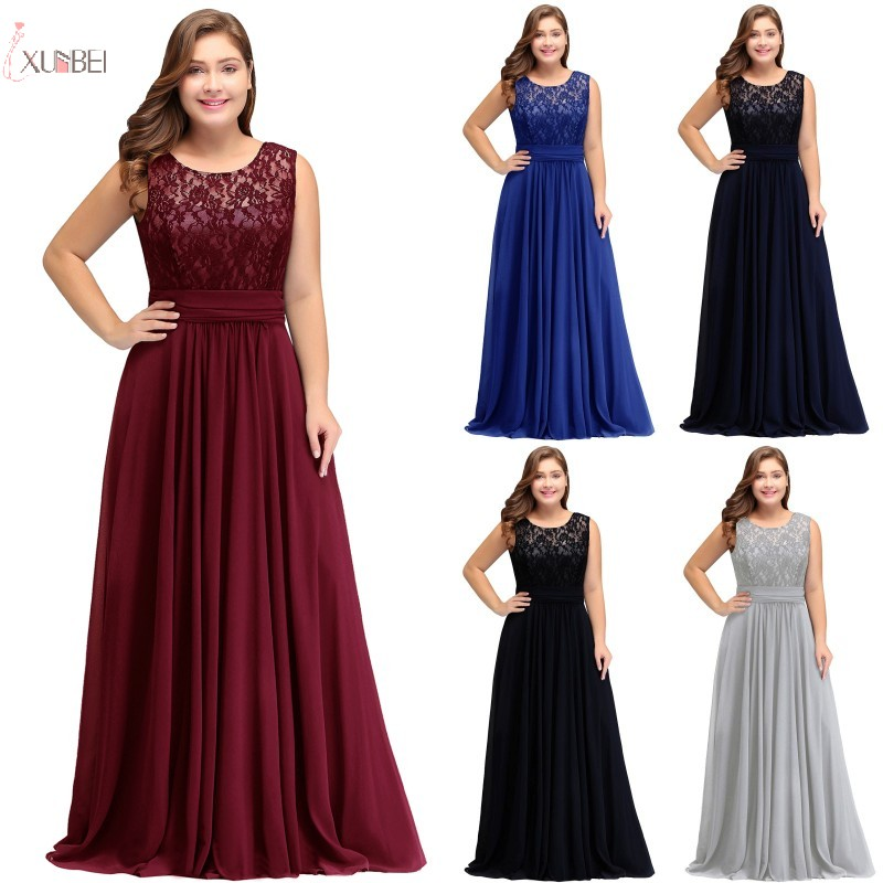 2019 Burgundy Navy Blue Chiffon Plus Size Long   Bridesmaid     Dresses   Sleeveless Wedding Party Guest Gown vestido longo