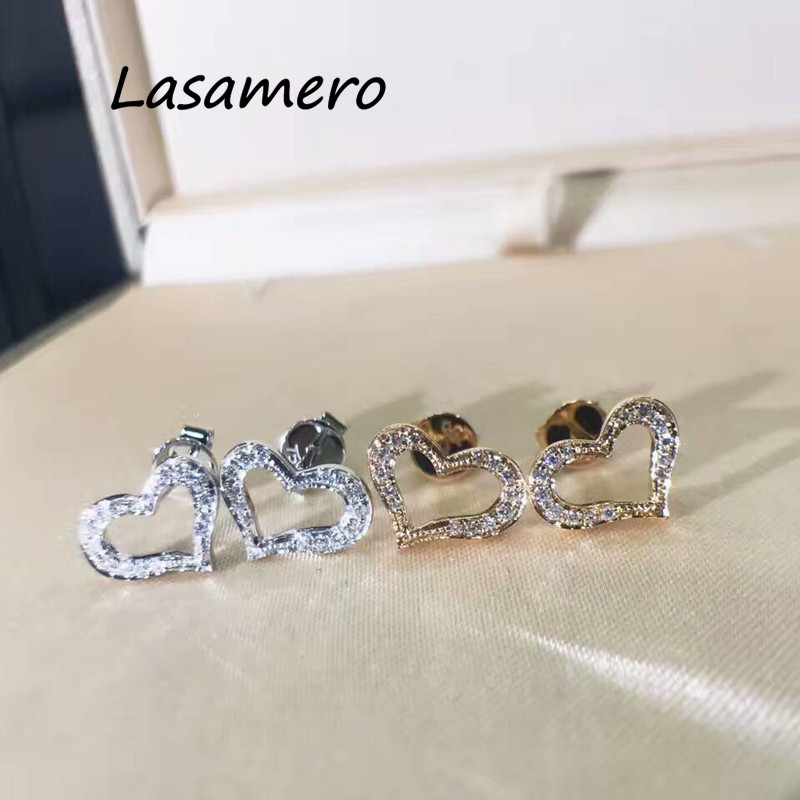 LASAMERO 0.086CTW Heart Shape Natural Diamond Round Cut Cluster Earrings 18K White Gold Stud Earrings Fine Jewelry Earring Studs ...