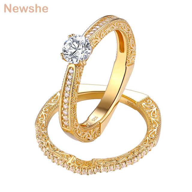 Newshe 2 Pcs Wedding Rings For Women Yellow Gold Color 925 Sterling Silver Classic Jewelry AAA CZ Engagement Ring Bridal Set