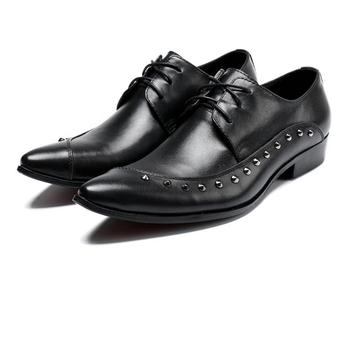 New 2018 Men Business Formal Dress Shoes Oxford Black Lace-up Pointed Toe office wedding shoes rivet large size 46 47