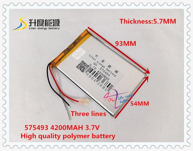 3.7 V 4200 mAH 575493 bateria De Polímero de iões de lítio/bateria Li-ion para BANCO DE POTÊNCIA tablet pc dvr GPS do telefone celular MP4 FALANTE