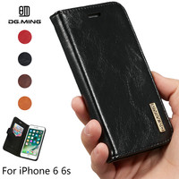 DG.MING Genuine Leather Case for iPhone 6 6s Luxury Detachable 2 in 1 Flip Stand Card Slot Magnets Cover for Apple iPhone 6 Case