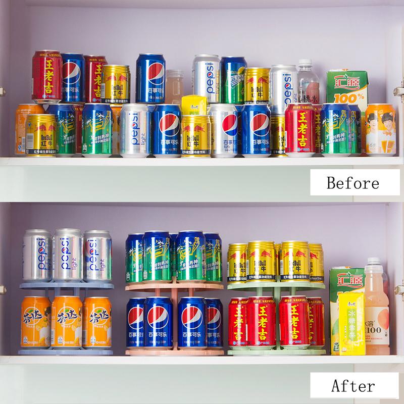 FHEAL 2 Tiers 360 Degree Rotating Beverage Can Storage Rack Kitchen Spice Jar Condiment Bottles Tray Drink Organizer Holder (9)